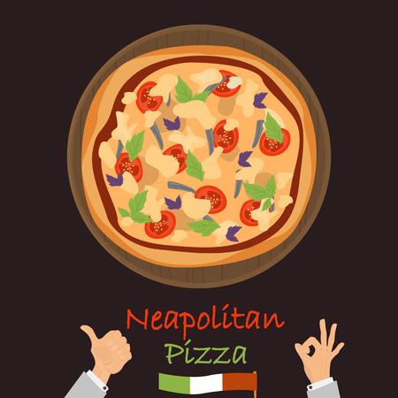 Naepolitan pizza couleur icône plate vector illustration. Banque d'images - 89041933