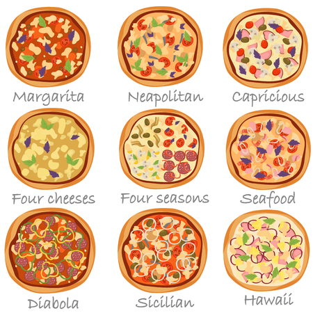 Set of different pizza color flat icons on white background. Ilustração