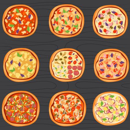 나무 배경에 다른 피자 색 플랫 아이콘 집합. 일러스트