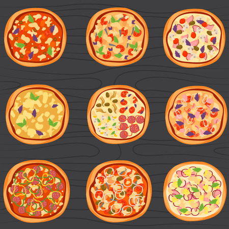 Set of different pizza color flat icons on wood background.