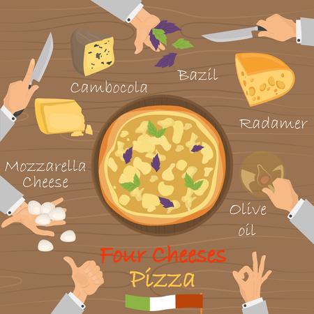 Recette de quatre fromages recette pizza sur fond marron. Banque d'images - 89041936