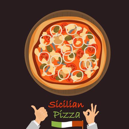 Pizza sicilienne couleur icône plate vector illustration. Banque d'images - 89041949