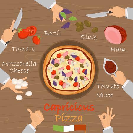 Capricious recipe pizza constructor on brown wood background. Ilustração