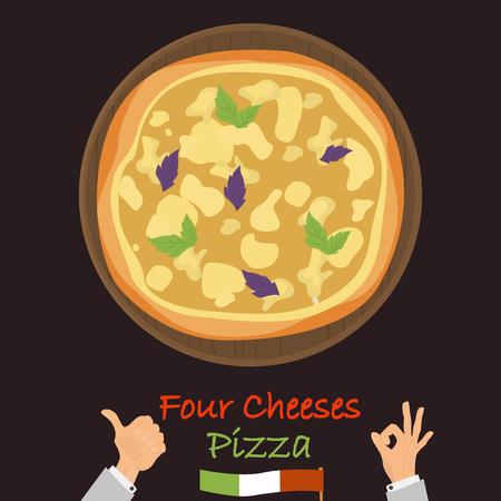 Quatre fromages pizza couleur icône plate vector illustration. Banque d'images - 89041958