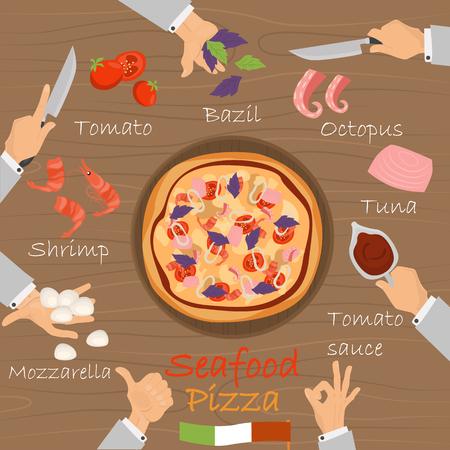 Constructeur de pizza de recette de fruits de mer sur fond de bois marron. Banque d'images - 89041955