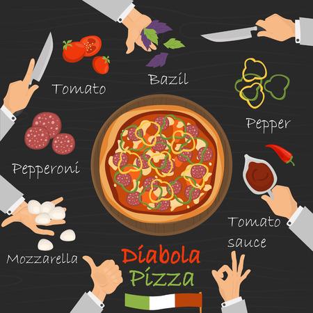 Constructeur de pizza recette Diabola sur fond de bois noir. Banque d'images - 89041962