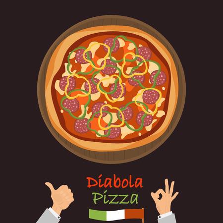 Diabola pizza couleur icône plate vector illustration. Banque d'images - 89041966