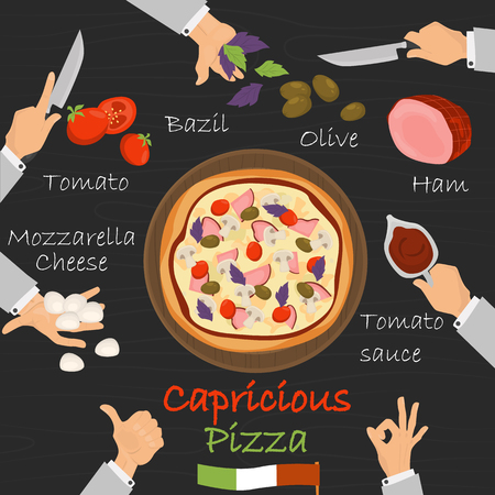 Capricious recipe pizza constructor on black wood background. Banco de Imagens - 89041982