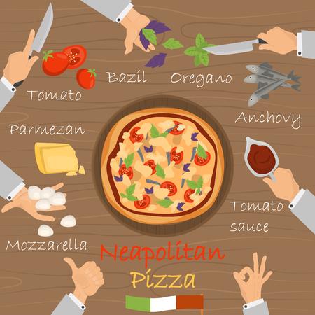 Constructeur de pizza de recette napolitaine sur fond de bois marron. Banque d'images - 89041985