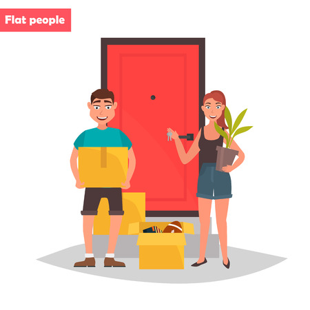 Young couple with things on the threshold of a new home color flat illustration