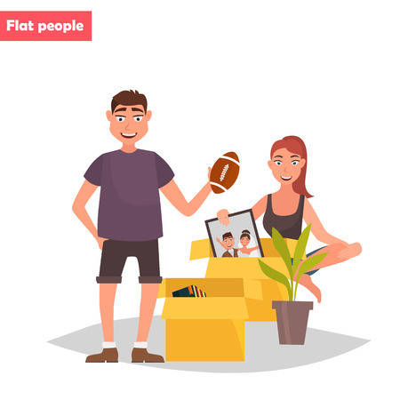 Young couple unpacks things color flat illustration.