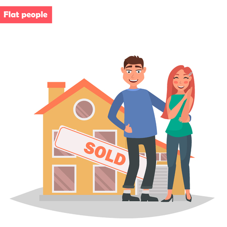 A young couple bought a house color flat illustration.