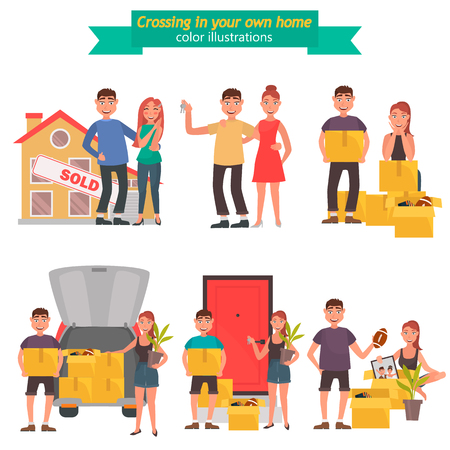 Young couple moves to a new house color flat illustration set.
