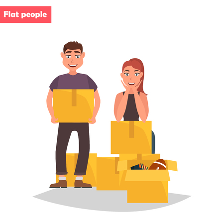 A young couple collects things in boxes color flat illustration.
