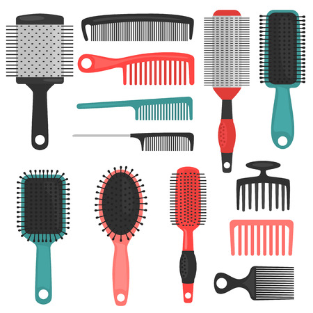 Different hair combs color icons set.