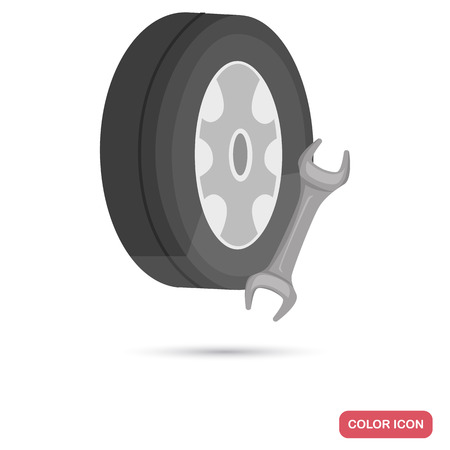 Spare wheel and wrench color flat icon