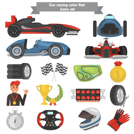 Racing track color flat icons set