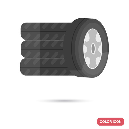 Replaceable wheels color flat icon Illustration