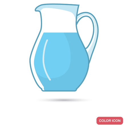 Jug with water color flat icon. Line design for web and mobile