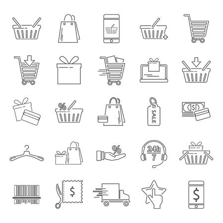 Iconos de línea universal simple de compras para el diseño móvil web y móvil