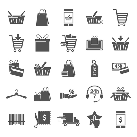 Shopping simple universal icons set for web adn mobile design Vectores
