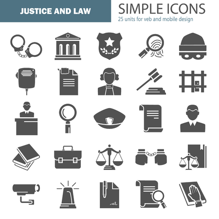 Set of simple universal justice and law flat icons for web and mobile design