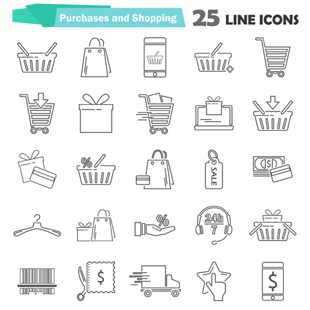 Shopping simple universal line icons set for web adn mobile design