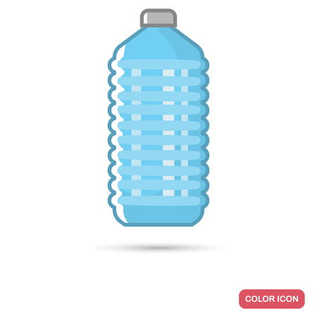 Plastic bottle with water color flat icon. Line design for web and mobile