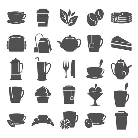 コーヒーとお茶のシンプルなアイコンを web およびモバイル デザイン設定  イラスト・ベクター素材