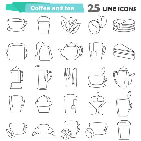コーヒーと紅茶の線アイコンを設定する web およびモバイル デザイン  イラスト・ベクター素材