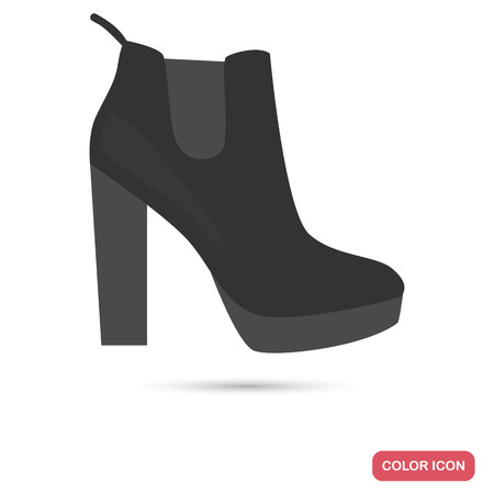 Women's boot shoe colored flat icon for web and mobile design 向量圖像