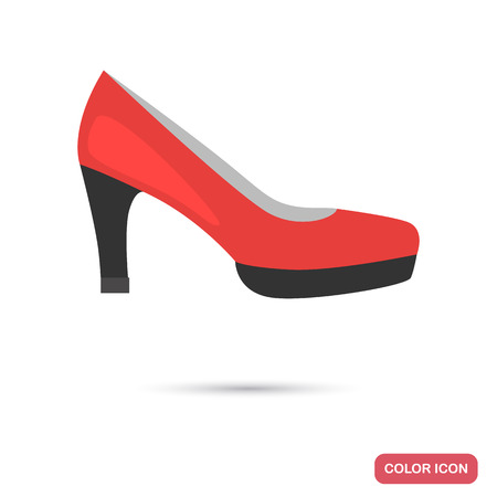 Women's heel shoe colored flat icon for web and mobile design