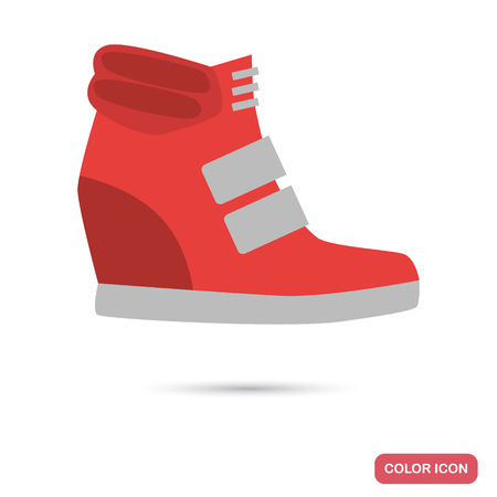 Female wedge sneaker flat icon for web and mobile design