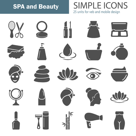Spa and Cosmetics simple icons set for web and mobile design Illustration