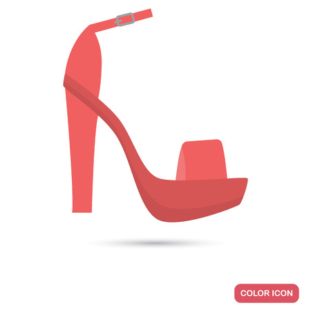 Female summer sandals colored flat icon for web and mobile design