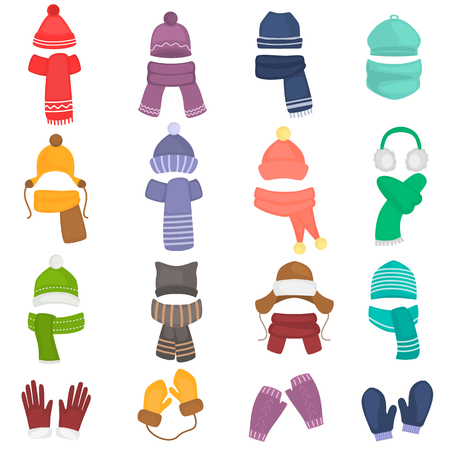 Set of winter hats and scarves colored flat icons