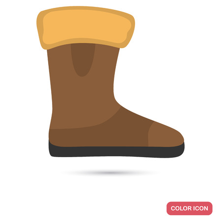 Women's winter boot colored flat icon for web and mobile design 向量圖像