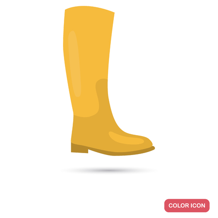 Rain rubber boot colored flat icon for web and mobile design