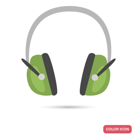 Protective headphones color flat icon for web and mobile design