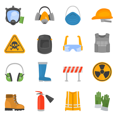 Safety work color flat icons set for web and mobile design Vectores