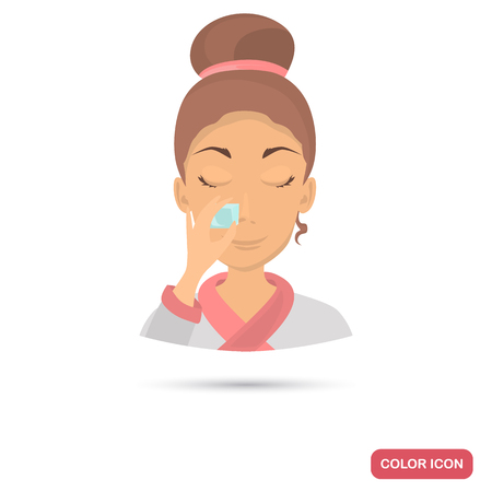 Ice cub washing face girl color flat icon for web and mobile design