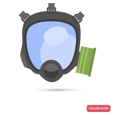 Modern gas mask color flat icon for web and mobile design Illustration