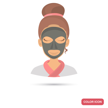 Black clay mask on girl face color flat icon for web and mobile design