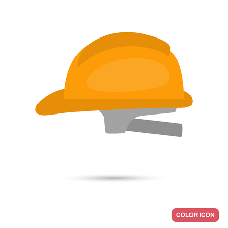 Construction helmet color flat icon for web and mobile design