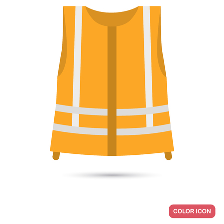 Construction vest color flat icon for web and mobile design Çizim