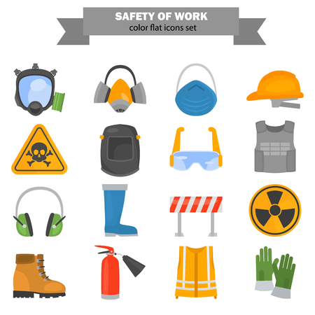 Safety work color flat icons set for web and mobile design  イラスト・ベクター素材