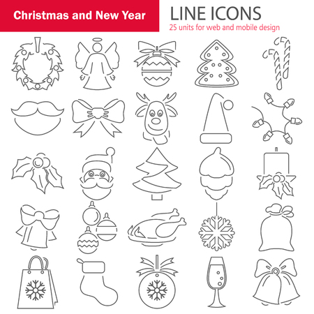 Set of Christmas line icons for web and mobile design