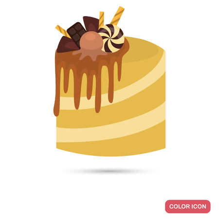 Cake with caramel and chocolate decoration color flat icon Ilustracja