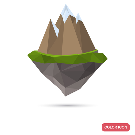 Island with mountains in polygon style color icon