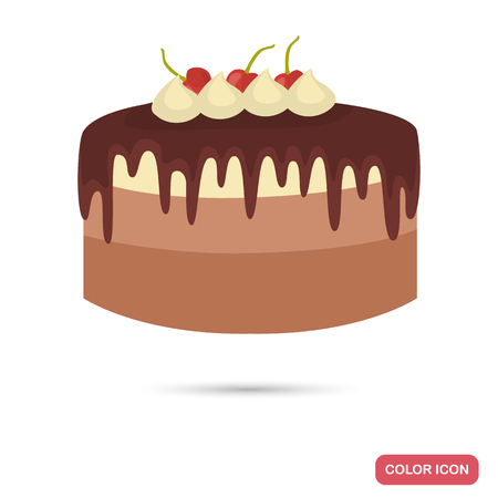 Chocolate cake with cherry color flat icon